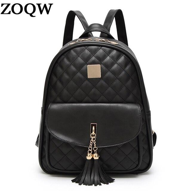 476d035b34 ZOQW 2018 Korean Black PU Leather Backpack Female Fashion Women Backpacks  For Teenage Girls School Bag 3 Pcs Set mochilas WYQ545