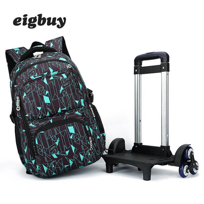 Kids Boys Girls Trolley Schoolbag Luggage Book Bags Backpack Latest Removable Children Wheeled School Bag 2/6 Wheels Stairs