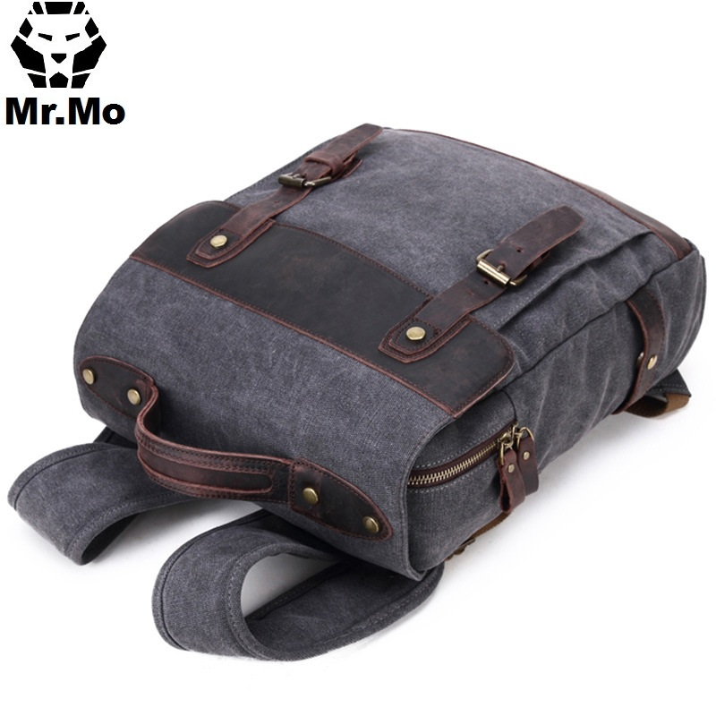 Mens Fashion Leather Canvas Laptop Backpacks Back Pack School Bags Itabag 2018 Summer Wear-resisting Book Packing Bag Organizer