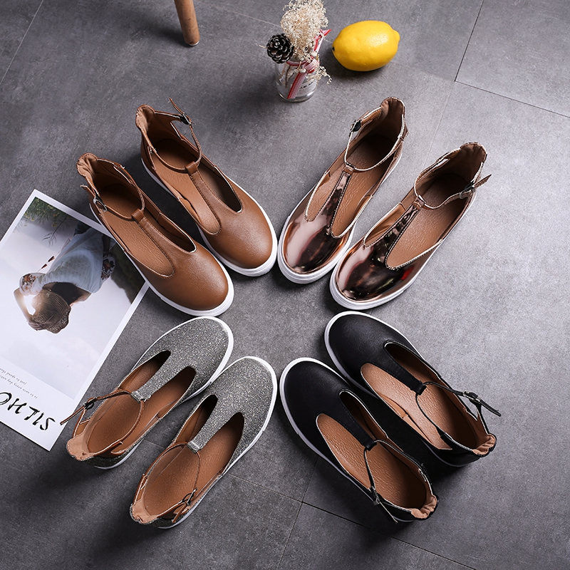 COOTELILI Spring Flat Shoes Women Oxfords Platforms British Loafers Casual Leather Women Shoes Ankle Buckle Round