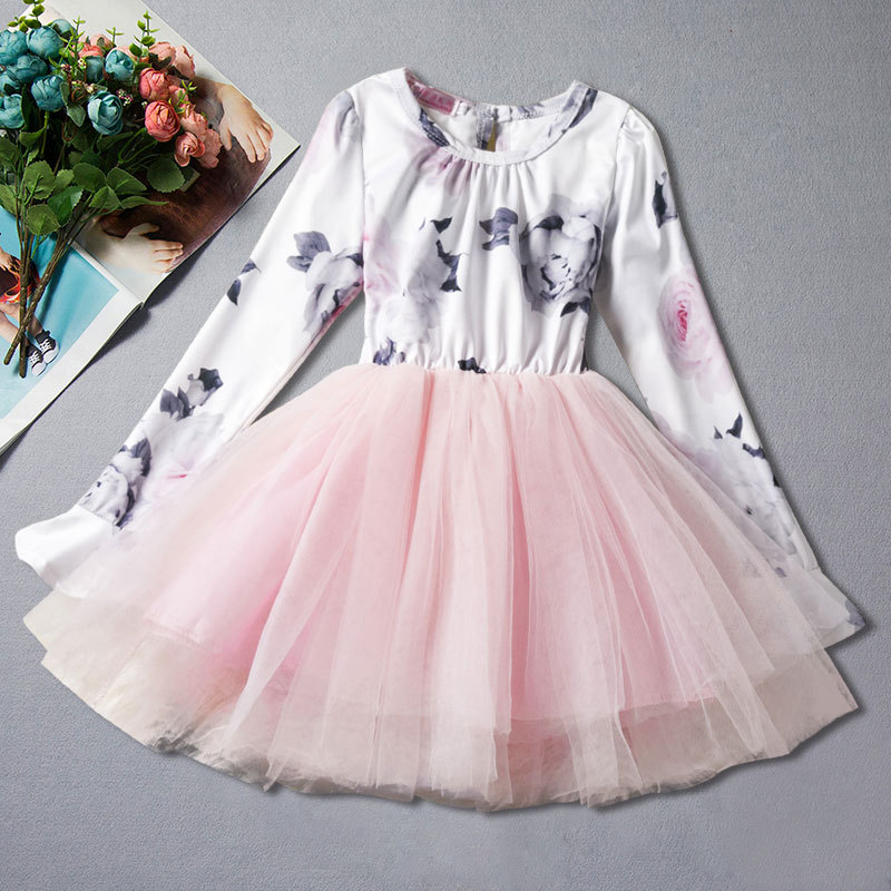 Spring girls casual dress 2018 Floral Long Sleeve Tutu Dress Age Size 2 3 4 5 6 7 8 Years Old floral green 4 5 8 x 6 7 16 cello sleeve 100 per pack