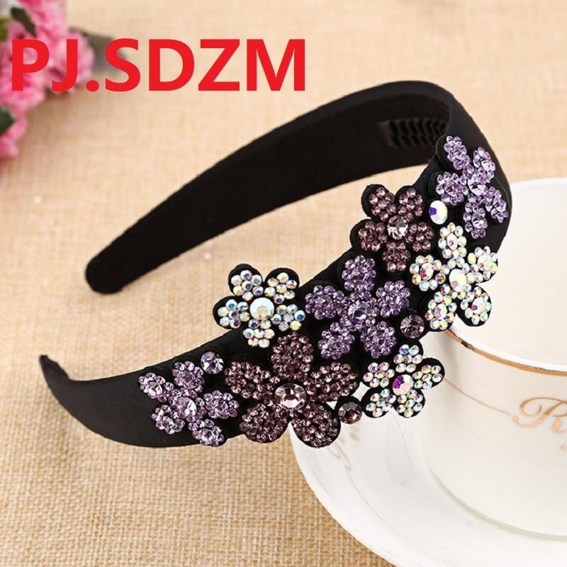 Austria Crystal Headbands Luxury Flowers Hairbands Girl Grade Bridal Rhinestone Hair Accessory Headwear Mother Gift FG0180