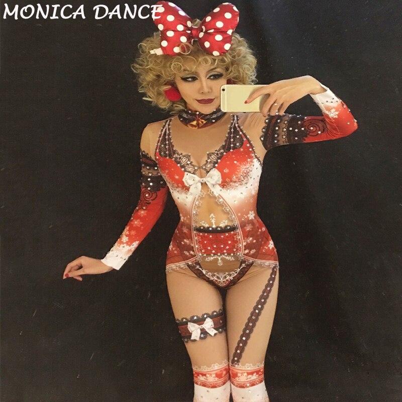 Noël Costumes Partie Spectacle Discothèque Body De Femmes Sexy Salopette Scène Jumpsuit Bling qFWExnTBzw