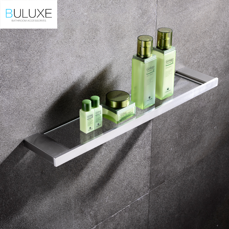 BULUXE European Single Tier Glass Bathroom Shelf Wall Mounted Brushed Stainless Steel Tempered Glass Bathroom Accessories IFG720 stainless steel single deck glass shelf