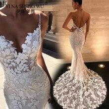 цена на Women's V-neck Sling Sleeveless Dress Extra Long Wedding Party Sexy Backless Dress V-neck Lace Flower Floor-length  Dress