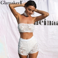 Glamaker Sexy wit kant playsuit vrouwen 2017 Choker lace up zomer jumpsuit romper Lady hollow out crop top overalls drie stuk
