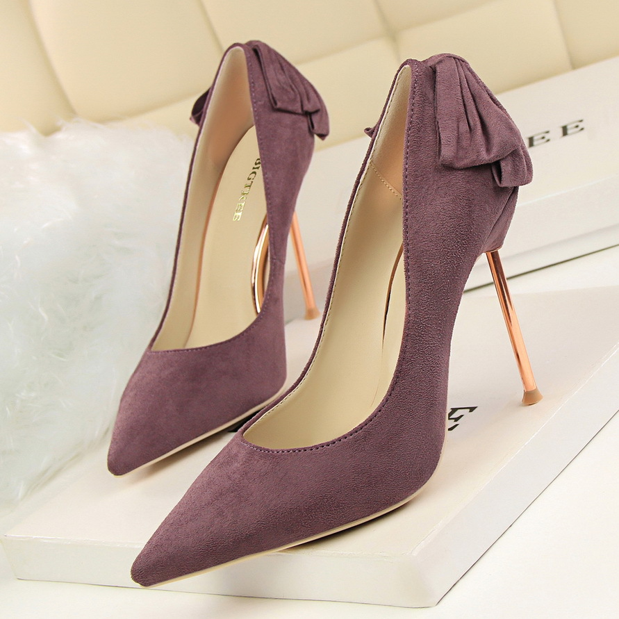 ФОТО Fashion sexy thin thin with high-heeled shallow mouth pointed after the bow after a single high heels