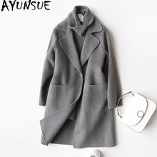 AYUNSUE 2019 Wool Coat Women Fashion Autumn Winter Cashmere Coat Female Turn Down Collar Jackets Overcoat casaco feminino 37029(China)