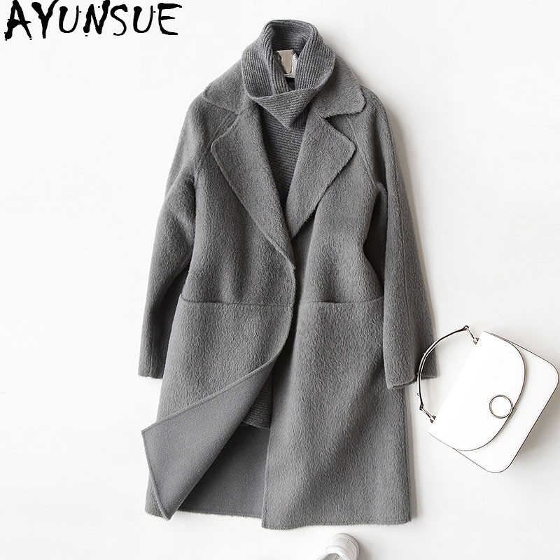 AYUNSUE 2019 Wool Coat Women Fashion Autumn Winter Cashmere Coat Female Turn Down Collar Jackets Overcoat casaco feminino 37029