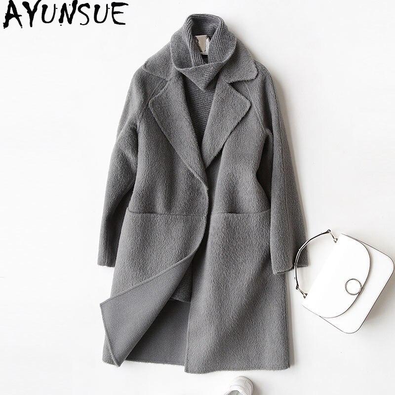 AYUNSUE 2019 шерстяное пальто Женская мода осень зима кашемирвое пальто женское отложной воротник куртки пальто casaco feminino 37029