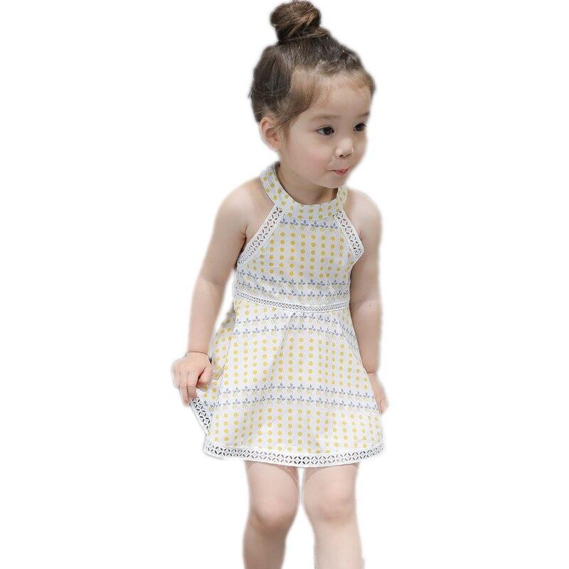 girls summer dress 2017 new kids clothes sleeveless hole children bohemian beach dress polka dot girls princess costume 2-7T
