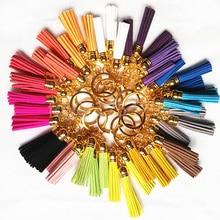 2016 New Arrival Tassel Key Ring Superfine Fiber 3 Tassel Keychains Golden Fashion Key Ring Women Bag Charming Pendant Car Key