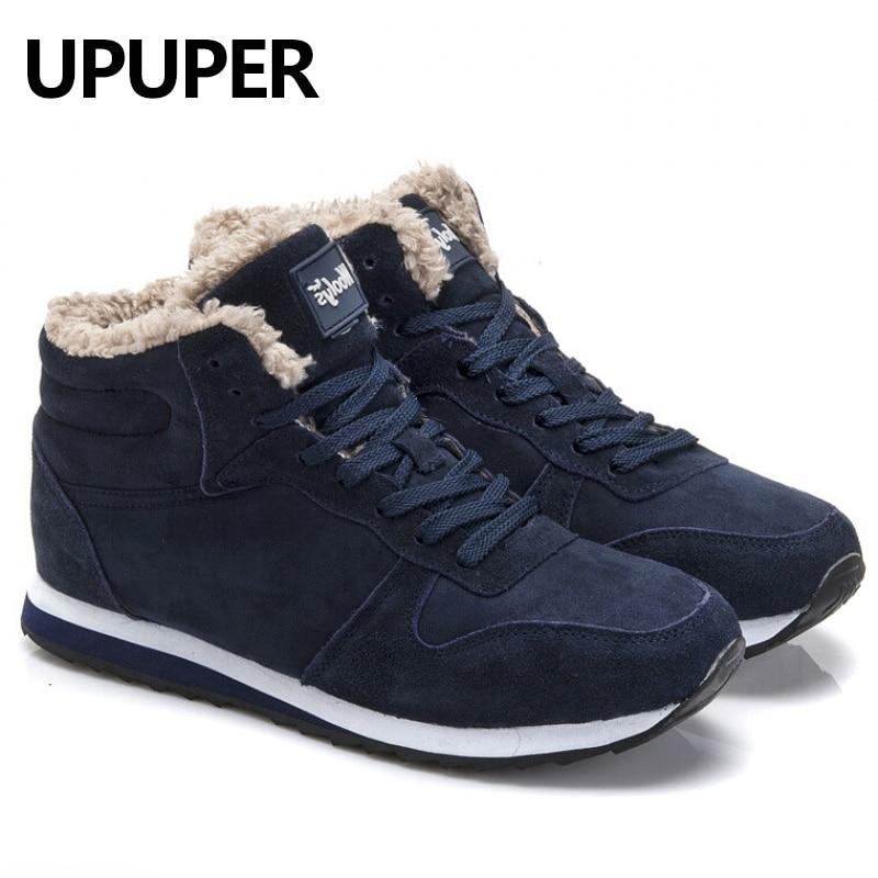 Plus la Taille Hiver Hommes Sneakers En Cuir Véritable Hiver Chaud En Peluche hommes Occasionnels Chaussures En Plein Air Unisexe Sport Chaussures Pour Hommes Bleu noir