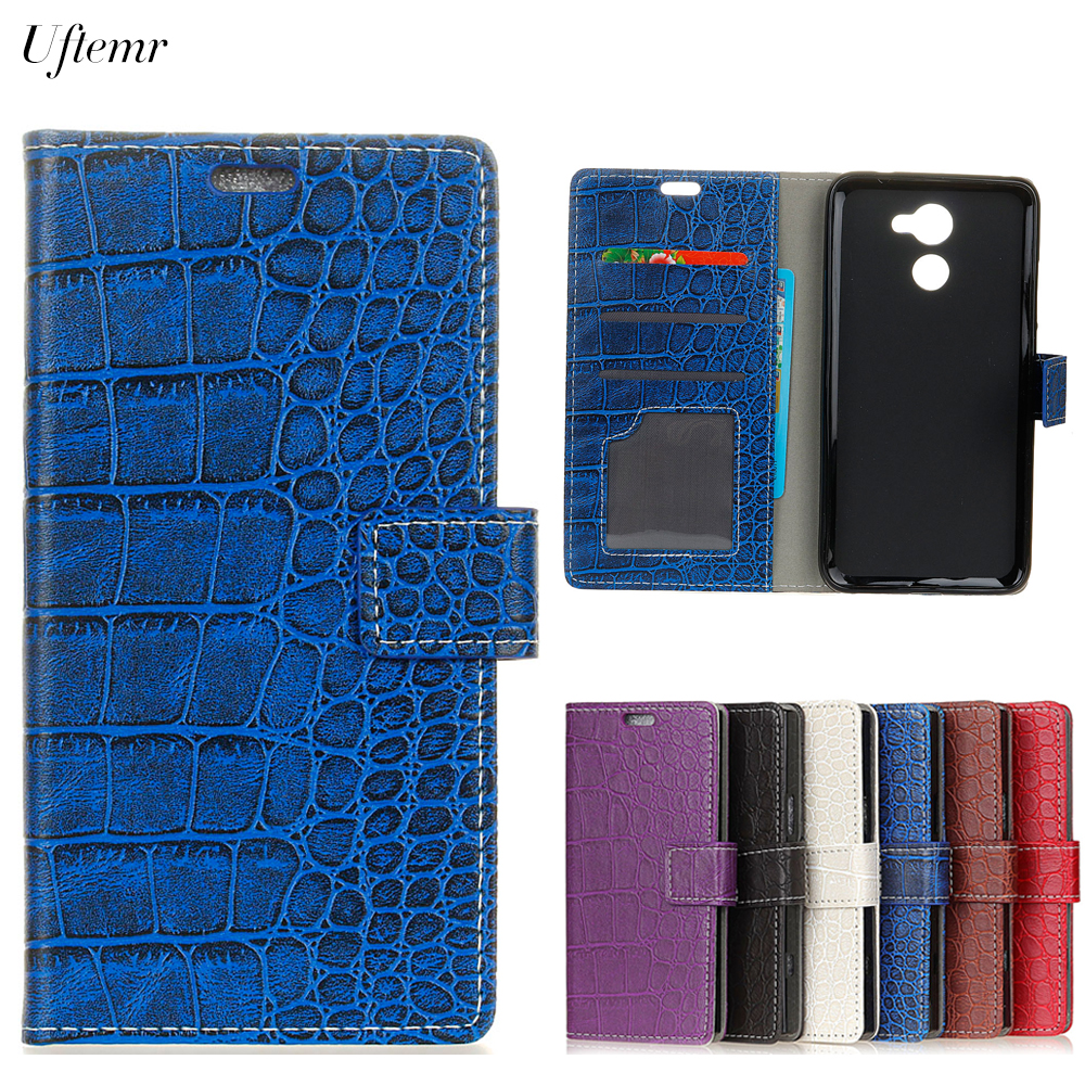 Uftemr Vintage Crocodile PU Leather Cover for Vodafone Smart V8 Silicone Case for Vodafone Smart V8 Wallet Card Slot Acessories