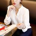 2016 Весна Женщины Шифон Рубашка Дамы Белый Sexy V-образным Вырезом С Длинным Рукавом Рубашки Женщины Офис Рубашка Плюс Размер blusas femininas W2