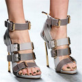 Sexy Cuatro Hebilla Strappy de los Altos Talones de Las Mujeres Sandalias Botas Gladiador Sandalias Mujeres Botas de Mujer Zapatos de Las Señoras Bombas Sandalias Mujer