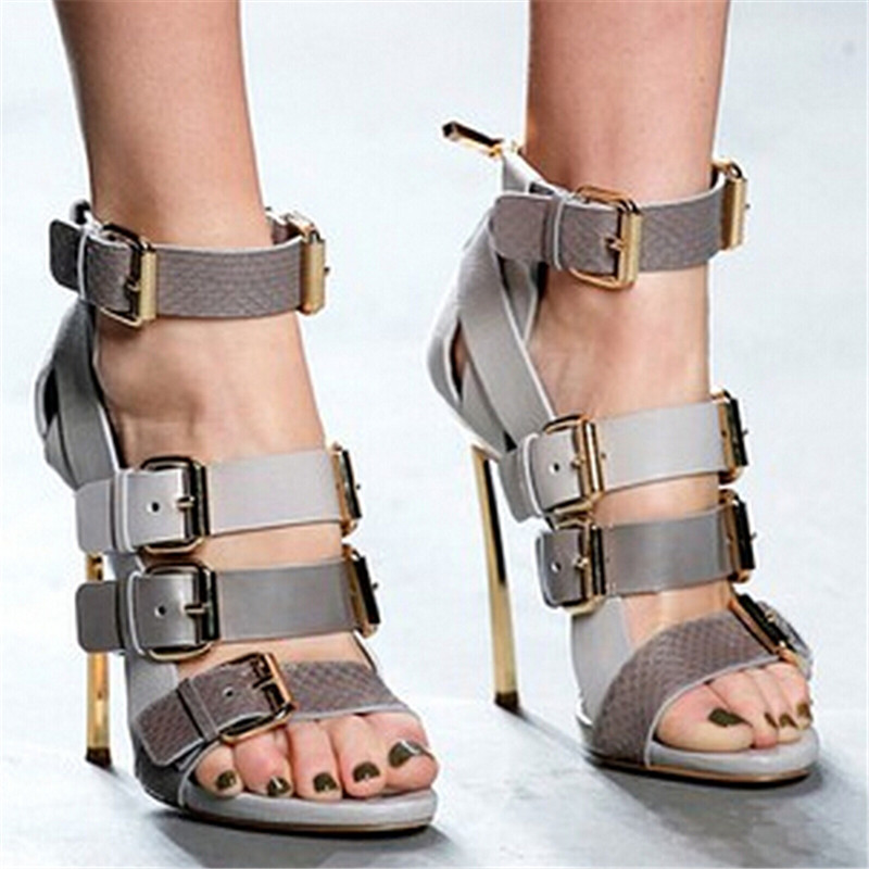 Sexy Four Buckle Strappy High Heels Women Sandals Boots Gladiator Sandals Women Boots Ladies Shoes Woman Pumps Sandalias Mujer цены онлайн