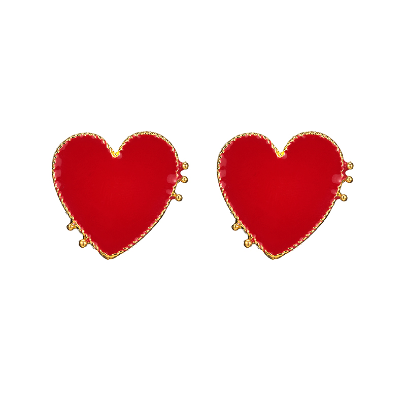 19 New Design Punk Gold Edge Red Acrylic Heart Stud Earrings For Women Bohemian Big Stud Earring Christmas Jewelry Gift 1