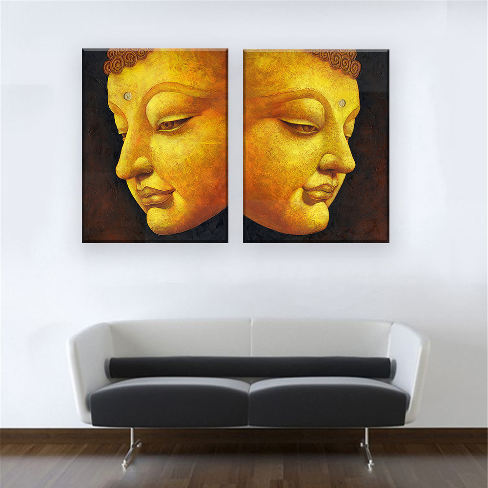 popular buddha face art buy cheap buddha face art lots from china 2 pcs set no framed modern wall art picture religion buddha face home decor posters