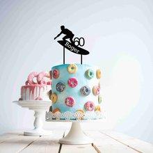Cake Topper Personalised Birthday Acrylic Name Custom Age 60-Surfer