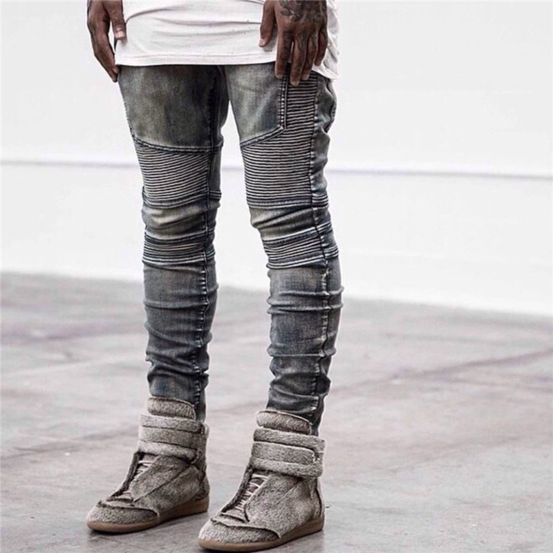 2017 Hot sale Men Fashion Pleated jean Pants Mid Waist Cotton Stretch engine Jeans famous brand Leisure Skinny Trousers skinny jeans men stretch hole jeans ripped jean famous brand all match trousers casual pants elastic stretch long pants men 224