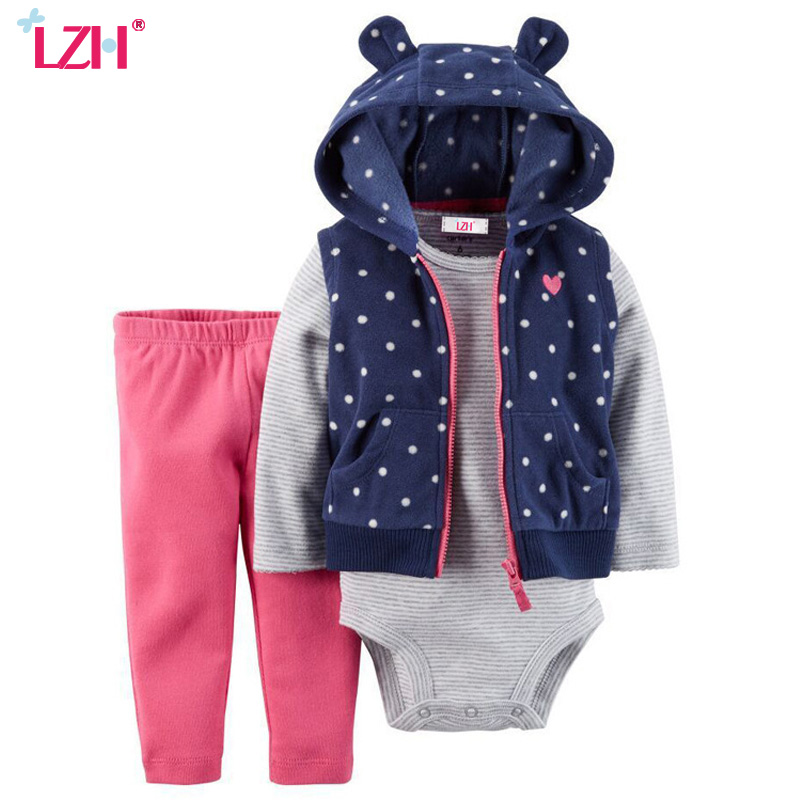 LZH Newborn Clothes 2017 Autumn Winter Kids Baby Girls Clothes Set Coat+Romper+Pant 3pcs Baby Girls Outfits Suit Infant Clothing 2pcs set newborn floral baby girl clothes 2017 summer sleeveless cotton ruffles romper baby bodysuit headband outfits sunsuit