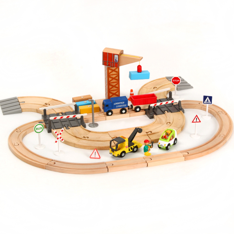 Wooden Train Track Set Toys Children's Assembled Puzzle Boys and Girls Toys Suitable for Thomas and Brio Wood Tracks