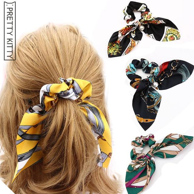 2018 fine Women Tiara Satin Ribbon Bow Hair Band Rope Ponytail Holder Gum  For Hair Accessories Hairstyle Girl Headbands 2ecc383622f