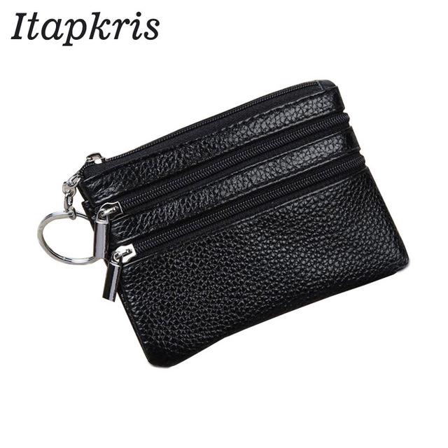 PU Leather Women Housekeeper Portable Business Credit Card Holder Small Key Wallet Coin Pouch Change Money Case Key Ring 1