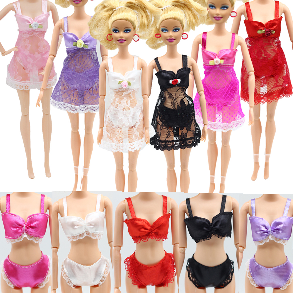 18Pcs/lot = 6 Sets color Lingerie Nightwear Lace Night Dress + Bra + Underwear bikini Clothes For Barbie Doll eg009