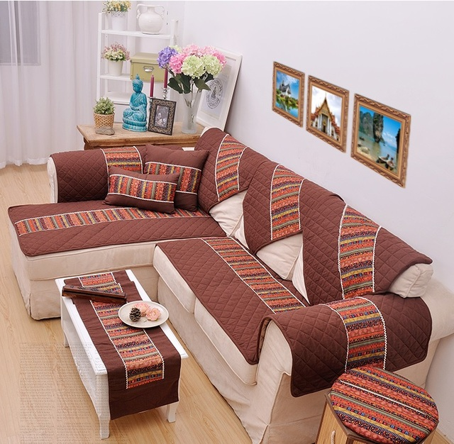 New Thai Style Flax Sofa Cover A Variety Of Optional Size Soft And