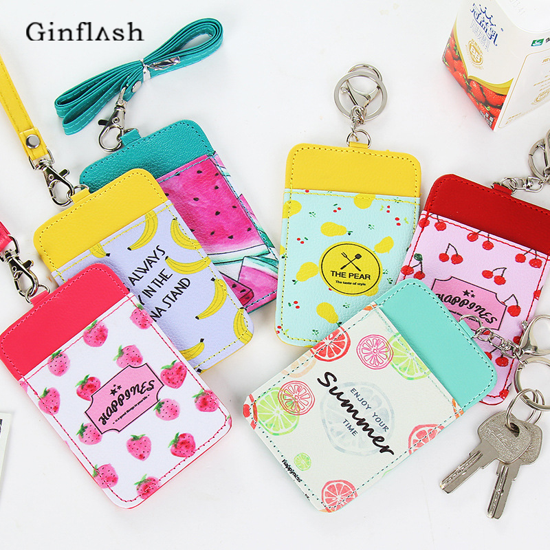 1pc Office Pu Leather Cute Fruit Colored Card Holder Office Supplies Stationery Card Stand Card Holder With Line