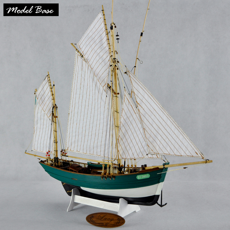 Wooden Ship Models Kits Diy Kids Toy Scale 1/50 Model Boats Wood 3d Laser Cut LUCY French Double Mast Vertical Sail Fishing Boat цена