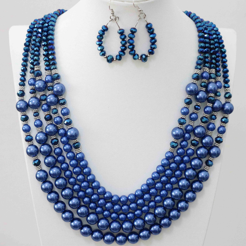 Blue glass crystal shell faux pearl beads fashion unique design anniversary earrings 5rows necklace earrings jewelry set B983-6
