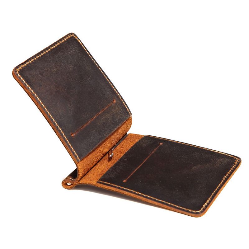 Retro Genuine Leather Men font b Money b font font b Clips b font Wallet Slim