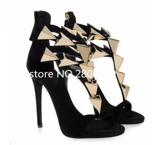 2017 New Fashion Designer Gold Triangle T Bar Metal Decoration Super High Heels Black Beige Leather Elegant Women Summer Sandals