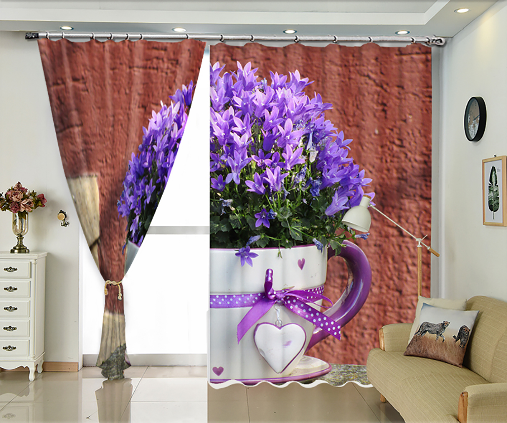 Purple Flowers in Cup Creative High Precision 3D Shade Curtains