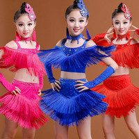 Blue Red Girls Latin Dance Costumes New Fringe Latin Dress Latin Dance Skirt Girls