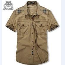 Camisa masculina afs jeep männer shirts kurzarm drehen-unten patchwork beiläufiges sommer männlichen shirt chemise homme marke clothing 2017