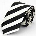2016 Magro Gravata Novos Acessórios Gravata fina para Homens Jacquard tecido Listrado Casual Verifique & Teste Padrão da Manta Branco Preto gravatás 43