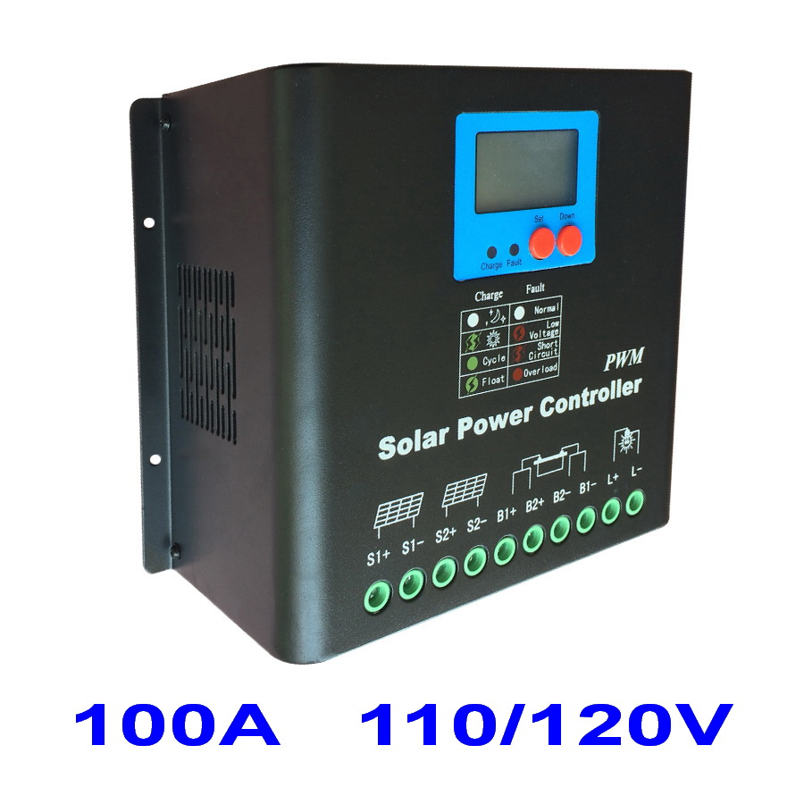 100A Solar Charge Controller,110V or 120V Battery Regulator 100A for 12KW PV Panels Modules,LED&LCD Display,Dual-fan cooling high voltage 192v battery regulator 60a solar charge controller for 11520w pv panels modules dual fan cooling