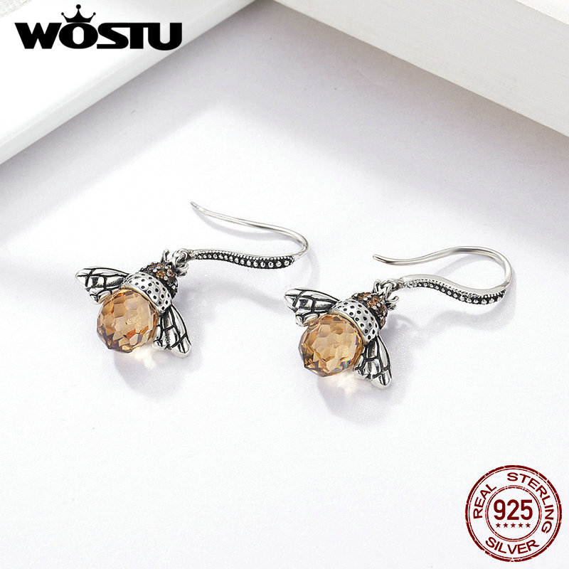 Image 3 - WOSTU Hot Selling 100% 925 Sterling Silver Lovely Bee Drop Earrings For Women Fine Jewelry Luxury Lover Gift CQE149-in Drop Earrings from Jewelry & Accessories