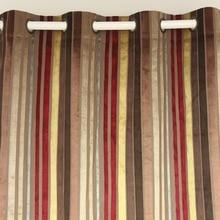 VEZO HOME Multi Burgundy Stripes Velvet Window Treatment Curtains Panel  Door Bedroom Living Room Home Decorative Curtain 5 Sizes