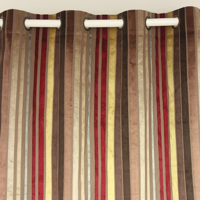 VEZO HOME Multi Burgundy Stripes Velvet Window Treatment Curtains Panel Door Bedroom Living Room Home Decorative