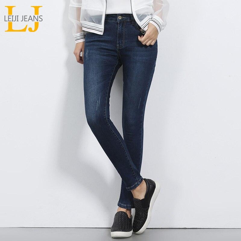 2018 LEIJI JEANS Mediados de cintura para las mujeres pantalones vaqueros flacos Causal estilo azul Demin Pant Plus tamaño S-6XL mediados elástico completo longitud Jeans