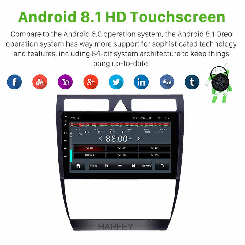 Harfey oem 9 polegada android 8.1gps navegação rádio do carro para audi a6 s6 rs6 1997-2004 wifi hd touchscreen aux apoio usb carplay