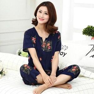 Image 1 - Top Grade nowe kobiece piżamy zestaw bielizna nocna kobiety bawełna nadruk na tkaninie lnianej kwiat piżamy lato dorywczo luźna bielizna nocna odzież domowa