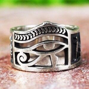 Vintage Men Women Silver Color Egyptian Eye of Horus Ankh Cross Symbolic Rings Egypt Amulet Jewelry Gift(China)
