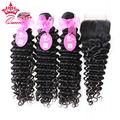 Queen Hair Products Brasileño de la Virgen de la Onda Profunda Rizada 1 Unidades de Encaje Cierre superior con 3 unids o 4 unids Extensión Del Pelo 100% Del Pelo Humano