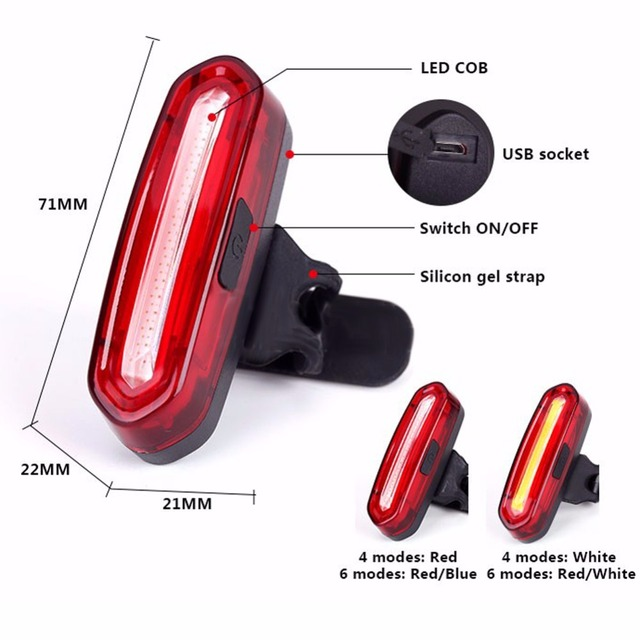 USB Rechargeable COB Rear Bike light Taillight Safety Warning Bicycle Light Front Rear Tail Lamp 4style LED Flash Lights